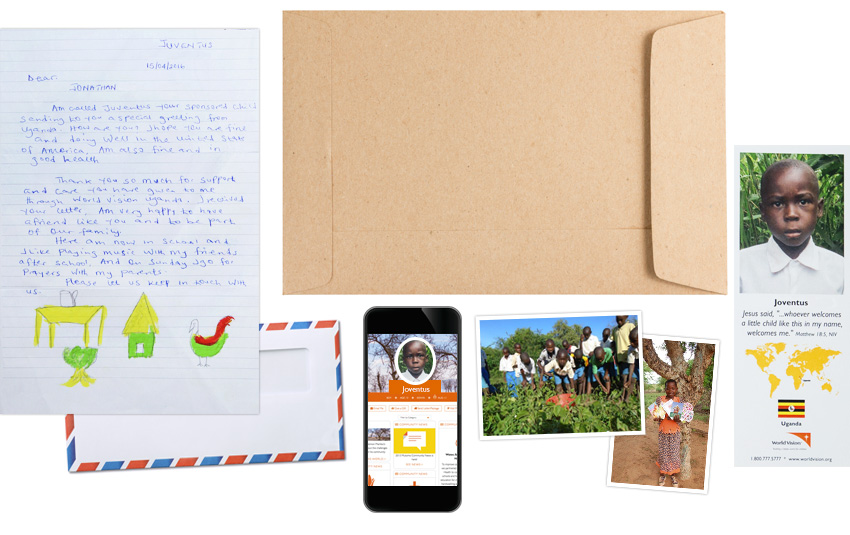 Photo of the letters, photos, welcome packet, photo bookmark, and smartphone with sponsored child's information you get when you sponsor a child in need through World Vision.