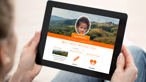 Log in to My World Vision for updates from your sponsored child. iPad with photos and latest news for a child sponsor.