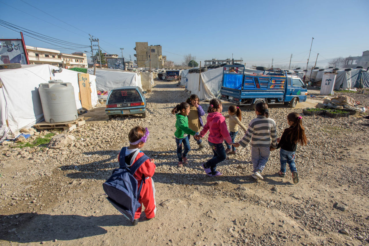 Syrian refugee children on the way to a Child Friendly Space ©2016 Jon Warren | World Vision.