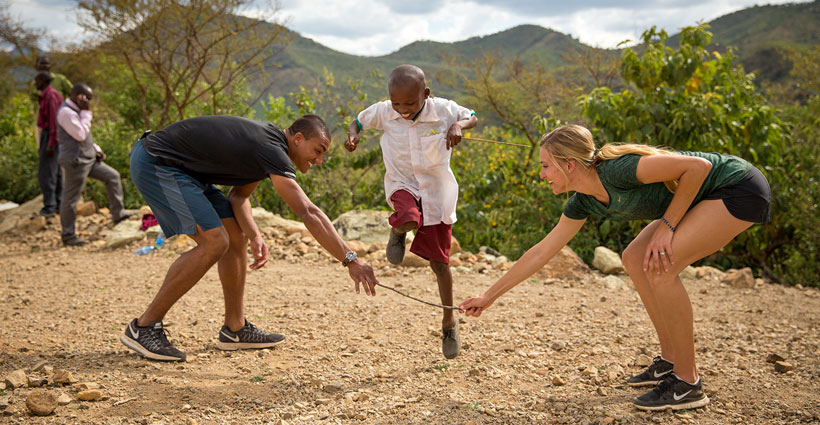 The Eatons with sponsored child ©2016 World Vision, Lindsay Minerva