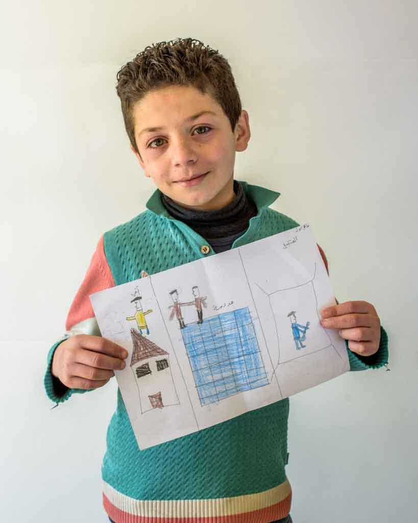 Mahar shares his drawing.