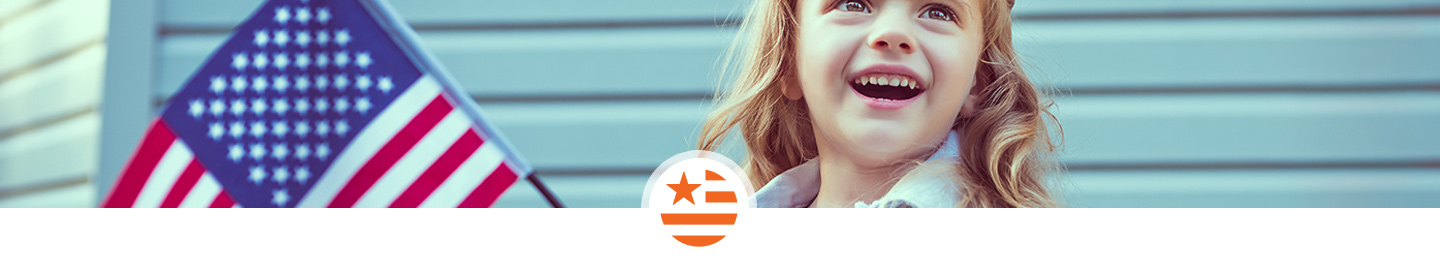U.S. Work, World Vision in the United States, World Vision here at home, girl with American flag
