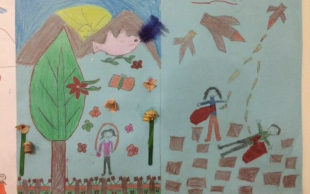 Syrian refugee children living in a tent settlement in Lebanon's Bekaa Valley share their drawings contrasting life before Syria's civil war and life now.