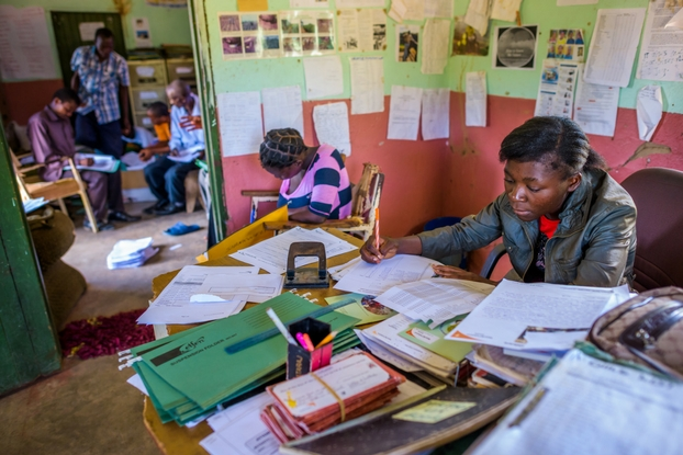 Modester frequently volunteers in World Vision's Sinazongwe office. (Photo: ©2016 World Vision/photo by Jon Warren)