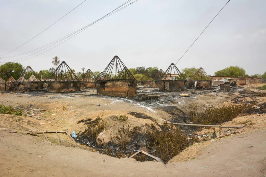 Burned homes in Malakal, South Sudan.