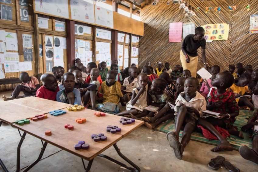 Children learn in a classroom in South Sudan.