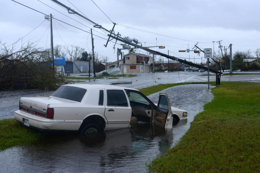 Hurricane Harvey left a path of destruction, including downing power lines in Aransas Pass, Texas.