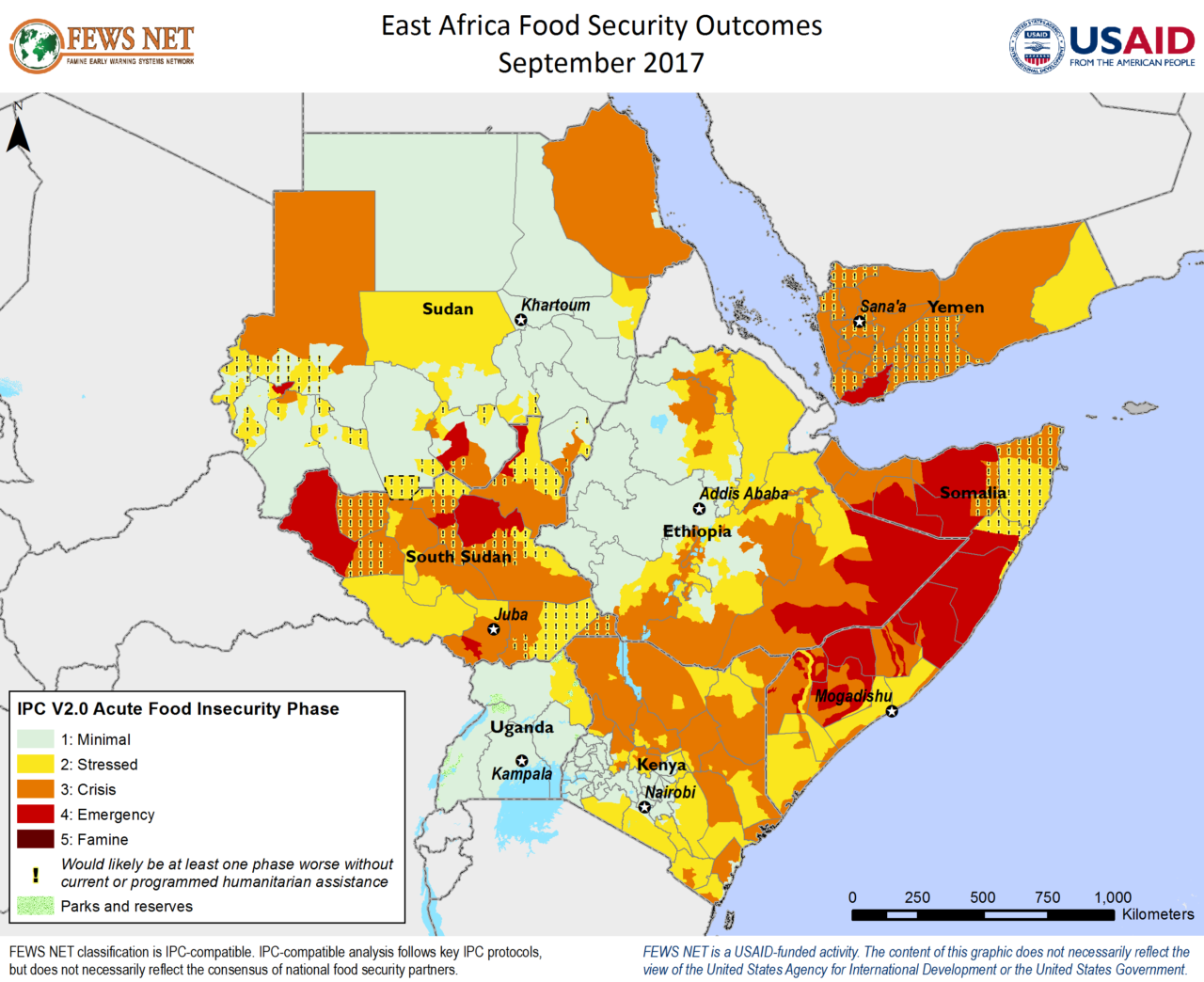 FEWS Net map of food security levels in East Africa as of September, 2017.