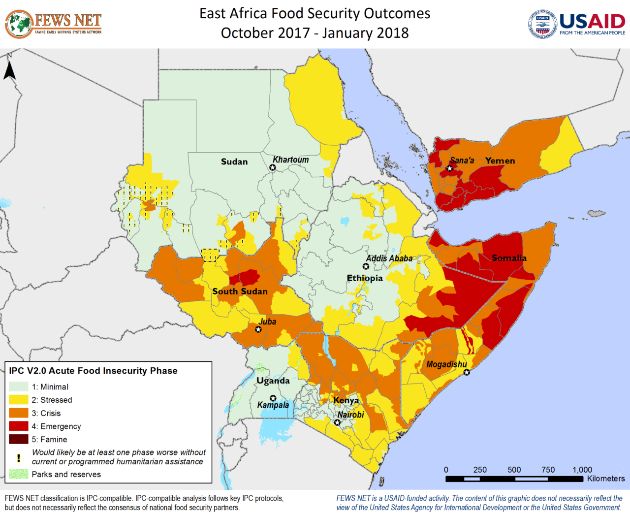 FEWS Net map of food security levels in East Africa through January, 2018.