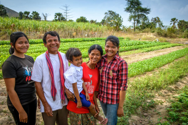 Sok Ouk's family was hungry and in debt. World Vision sponsorship and other programs helped transform them into shining examples of what God can do.