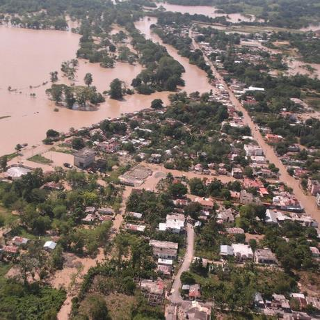 An arial view shows flooding in Palo Verde, Montecristi province, Dominican Republic from Sept. 23, 2017. Palo Verde is rice plantation area, vulnerable for flooding. (©2017 World Vision)