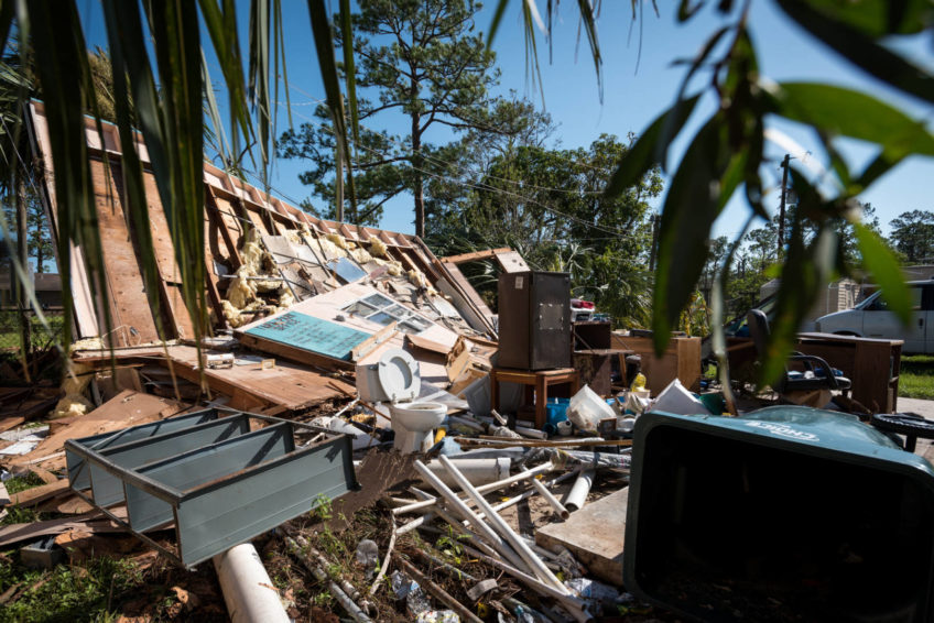 A home lies in ruins after Hurricane Irma in Immokalee, Fla. (©2017 World Vision/photo by Eugene Lee)