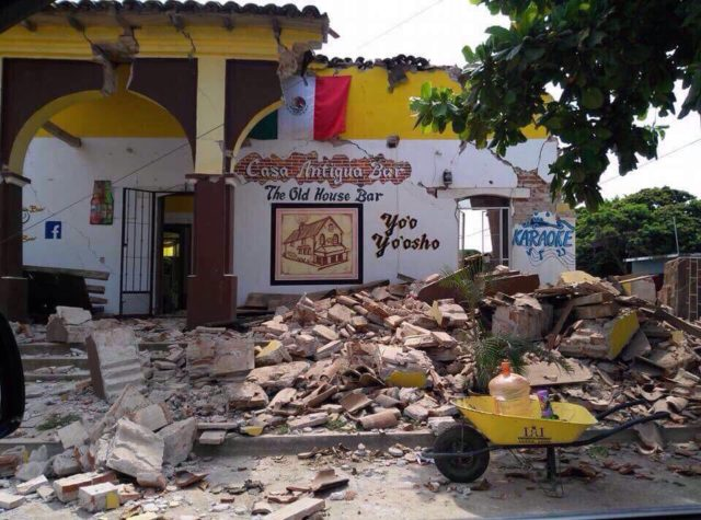 This building in Tonala, Chiapas, Mexico, was heavily damaged in a magnitude-8.1 earthquake late Sept. 7. Local World Vision staff and community leaders estimate the between 150 and 200 homes were damaged or destroyed. (©2017 World Vision/photo by World Vision staff)