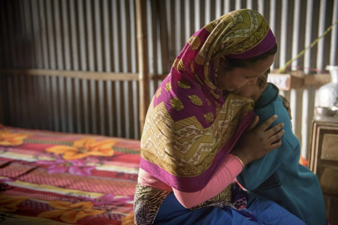 Mahfuza comforts Sonali, who still cries when she recalls the hard times her family experienced before she was sponsored and before they received goats and chickens. In a reversal of roles, the 8-year-old also used to cheer her mother up when she could see the pain and stress poverty caused her.