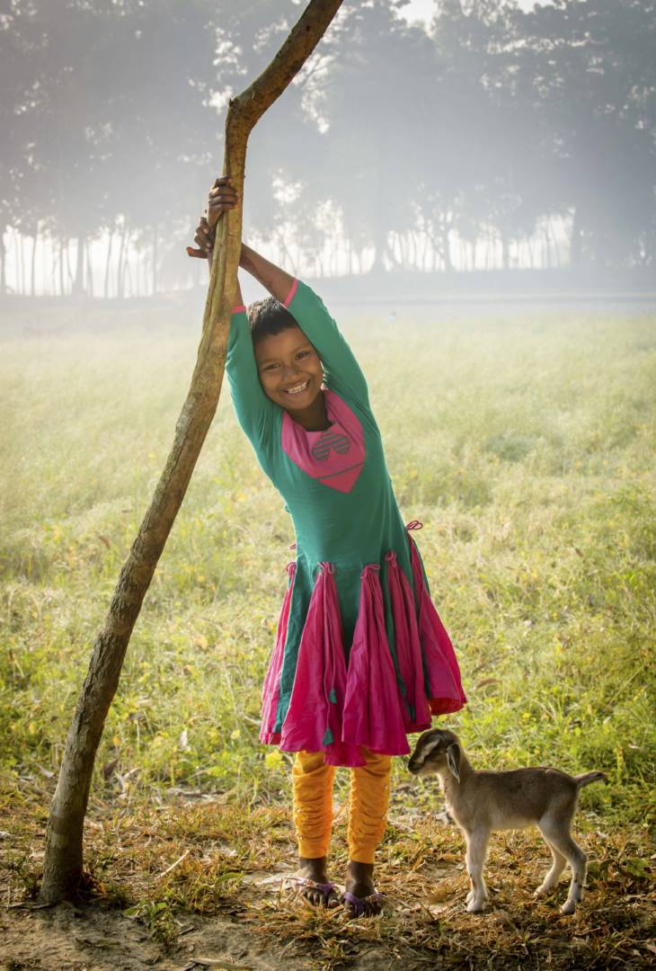 Sonali Akter, 8, dreams of becoming a doctor. Goats, chickens, and sponsorship are helping her work toward that goal.