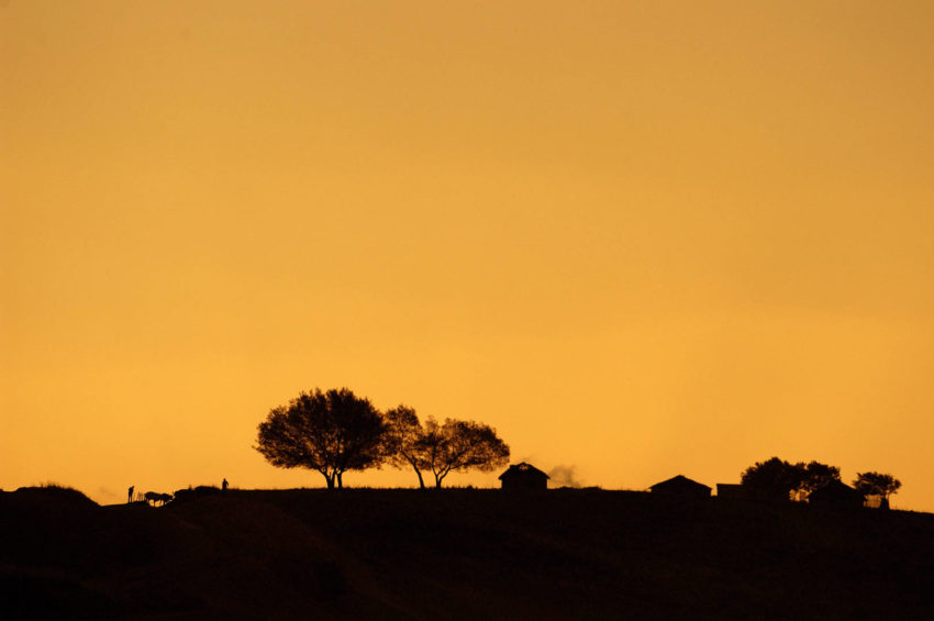 A South African village at sunset