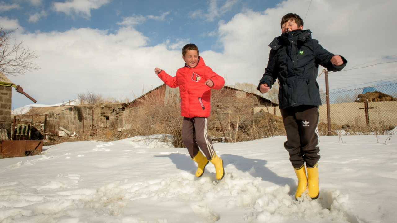 When Andre and Artem in Armenia couldn't go to school because they didn't have warm coats, they felt ashamed; but a gift helped them stay in school!