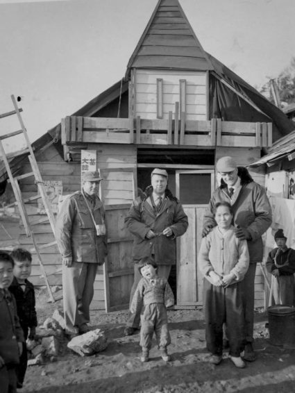 A photo taken in the 1950s during a trip to Korea by Billy Graham and Bob Pierce. (Photo courtesy of World Vision International)