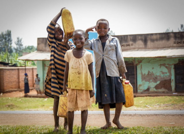 Girls carry water-Rwanda