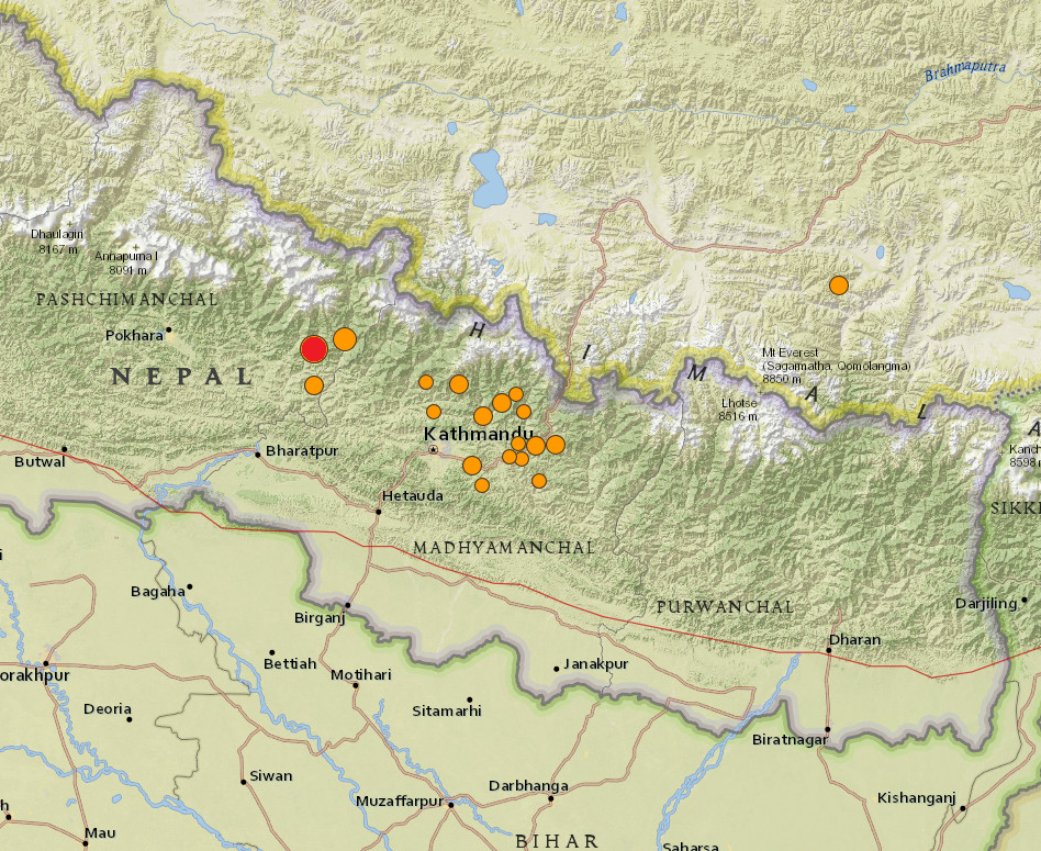 Nepal earthquake and aftershocks map