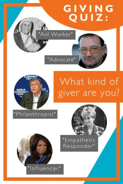 "Giving Quiz: What kind of giver are you? A ""Philanthropist"" like Bill Gates? An ""Aid Worker"" like Mother Teresa? An ""Advocate"" like Bono? Photo collage ©2018 World Vision"