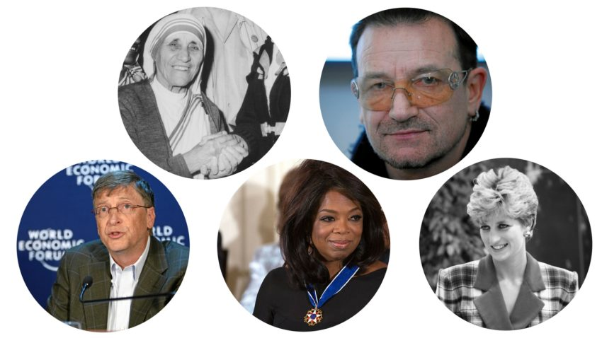 Photos of celebrity givers like Princess Diana, Oprah, Bill Gates, Bono, and Mother Teresa | Giving Quiz | All photos Creative Commons