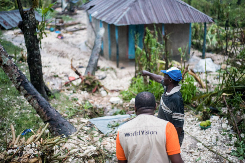 Haiti, Hurricane Matthew. A team including World Vision staff was among the first to assess the hurricane damage in southern Haiti and to meet with communities about their needs. (©2016 Guy Vital-Herne/World Vision)