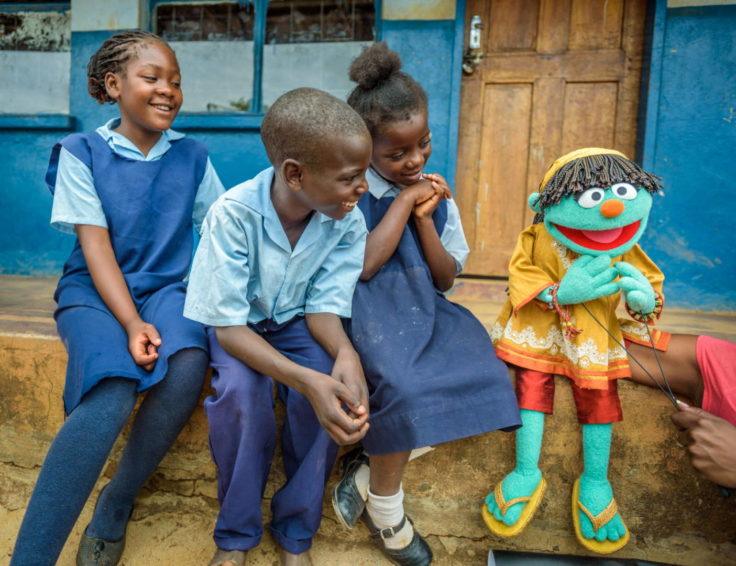 Clean water. Children in Zambia meet Raya, a Sesame Street Muppet, who introduces kids to things they need to know about clean water. Sesame Street and World Vision are working together to help end the global water, sanitation, and hygiene crisis. (©2015 World Vision/photo by Jon Warren)