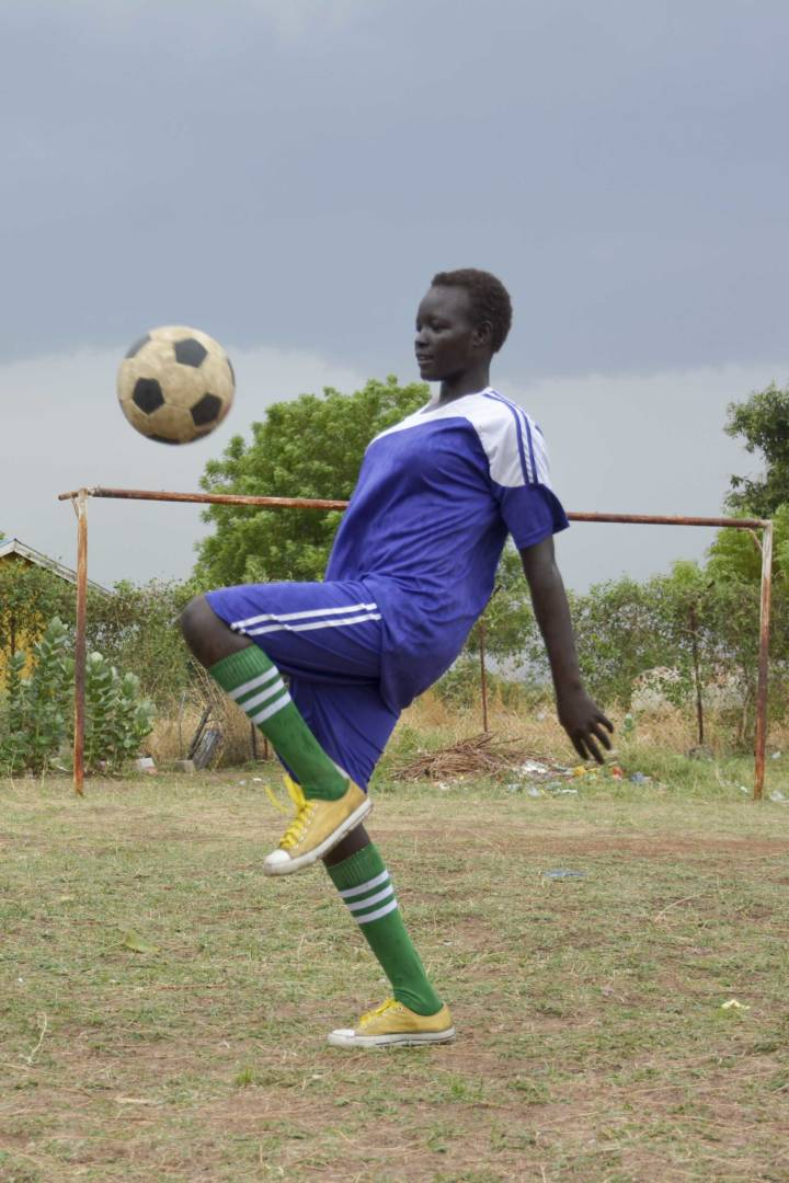 Dina has improved in school because of her involvement with a soccer program at a World Vision Child-Friendly Space in South Sudan.