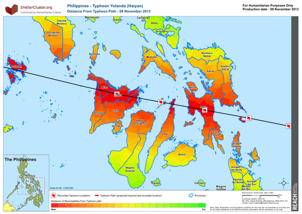 2013 Typhoon Haiyan_Philippines Typhoon Haiyan's track through the Philippines and beyond shows the intensity of impact along its route. (2013 map courtesy of REACH Initiative)
