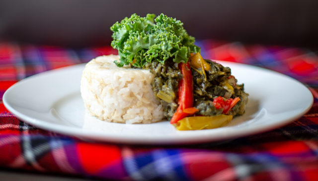Greens grown in Rwanda often end up combined with peanut butter in a dish called isombe. Watch a video and then try this isombe recipe with your family!