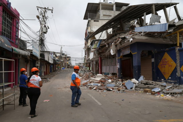 2016 Ecuador earthquake: World Vision staff assess damage in a business district of Manta, a major port city. A magnitude-7.8 earthquake rocked Ecuador's coast
