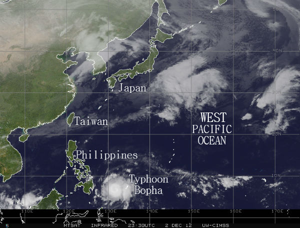 Typhoon Bopha approaches the Philippines on December 2, 2012, a day before making landfall in Mindanao as a devastating tropical storm. (©2012 photo courtesy of the Joint Typhoon Warning Center)