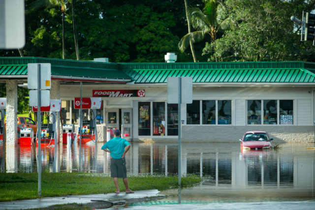 Hurricane Lane causes flooding in Hilo, Hawaii.