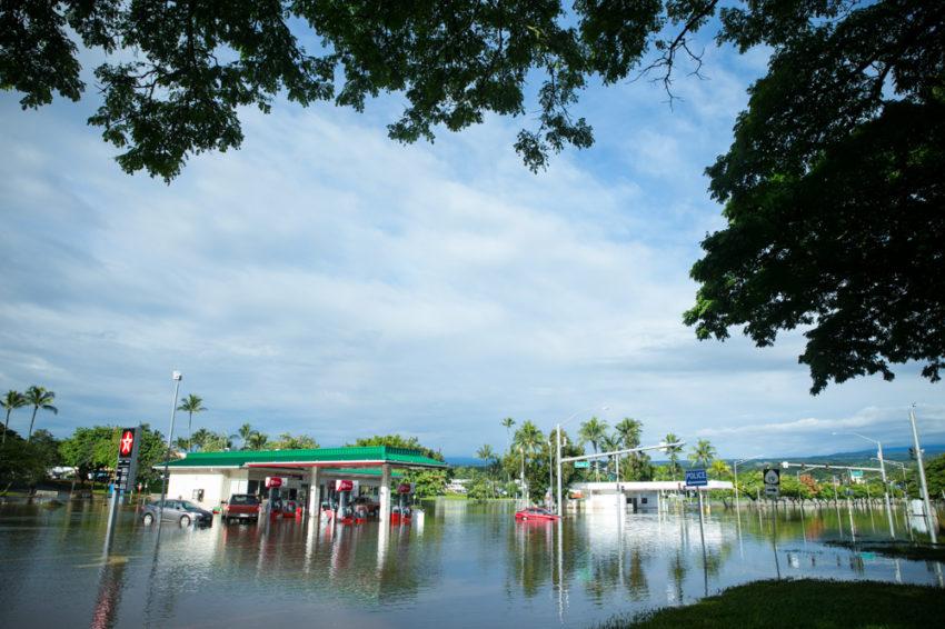 Hurricane Lane causes flooding in Hilo, Hawaii.