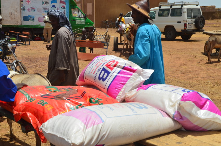 Insecurity in Central Mali has led to a humanitarian crisis. Food sacks are piled for a distribution in Ko, a central Mali community affected by both drought and conflict.
