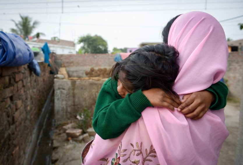 Child rights violations in India. Disha (name changed), 7, was kidnapped on the way to school. Local child protection volunteers and a police officer recovered her from a town known for child sex trafficking. (©2016 World Vision/photo by Annila Harris)