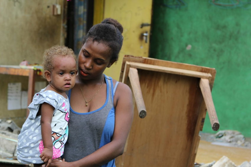 Solomon Islands 2016 earthquake drove mother and 1-year-old baby from their home.