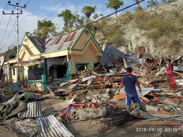 2018 Indonesia earthquake and tsunami - World Vision's emergency response team found scenes of destruction on reaching Palu, Central Sulawesi, after the Sept. 28, 2018 Indonesia earthquake and tsunami. Houses and infrastructure are severely damaged.