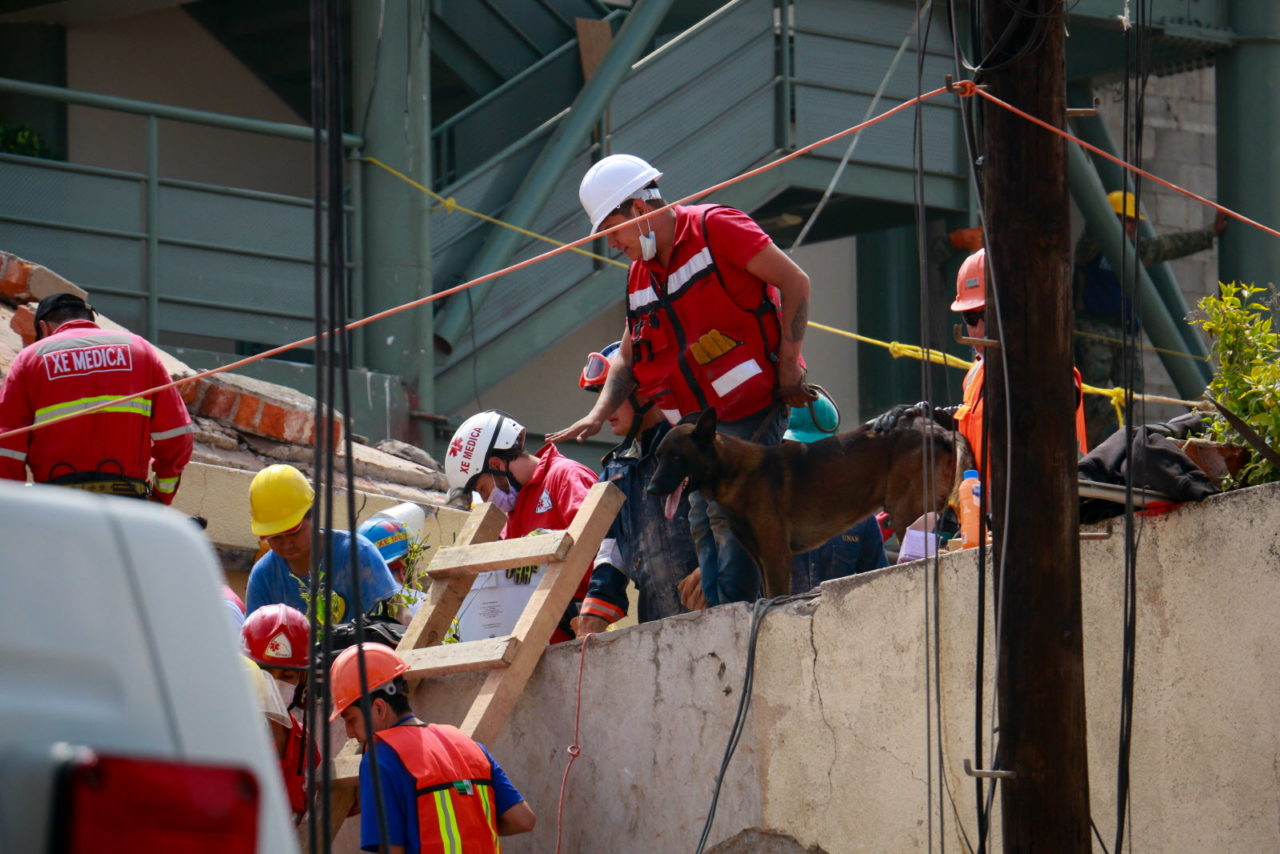 A magnitude 7.1 earthquake struck Central Mexico in September 2017, killing more than 300 people. Search and rescue teams remove the bodies of children who died when Mexico City's Rébsamen School collapsed during the earthquake. At least 21 children and four adults died in this location.