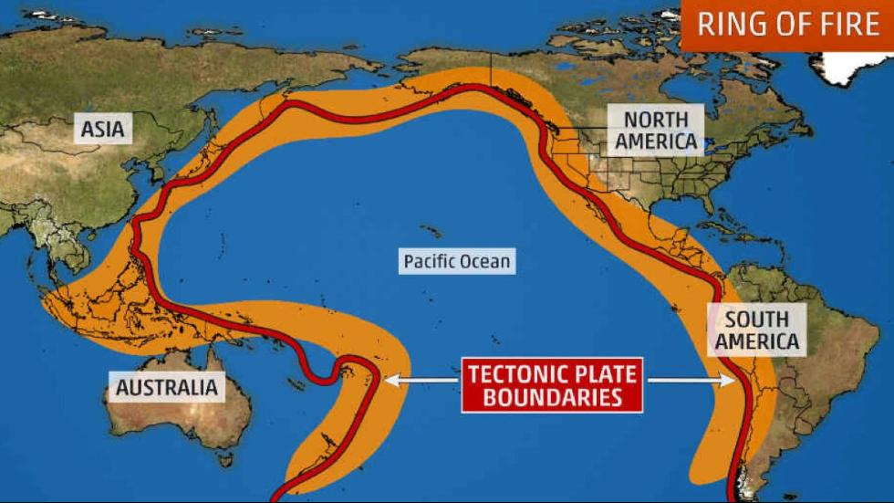 A map shows the Pacific Ring of Fire, the world's most active seismic zone. About 90 percent of earthquakes occur along the Ring of Fire, located at the edge of the Pacific Ocean. Most of the world's active volcanoes are also located on the Ring.