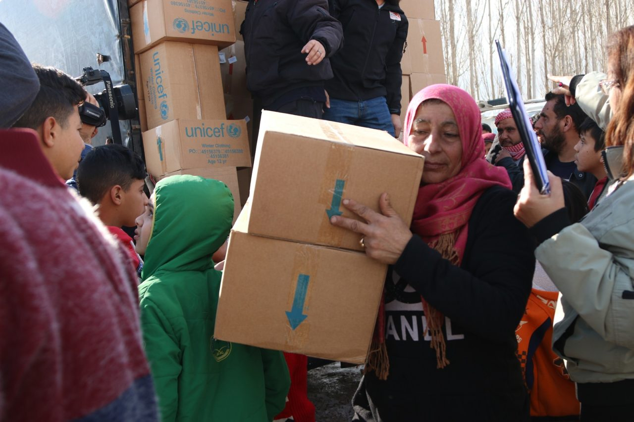 Syrian refugees in Lebanon affected by a winter storm in January 2019. Warm clothes and hygiene kits are among the supplies Syrian refugees receive from World Vision in the aftermath of a devastating winter storm in Lebanon. World Vision brought aid to more than 2,000 people within three days of the Jan. 6 storm that brought rain, snow, and flooding.