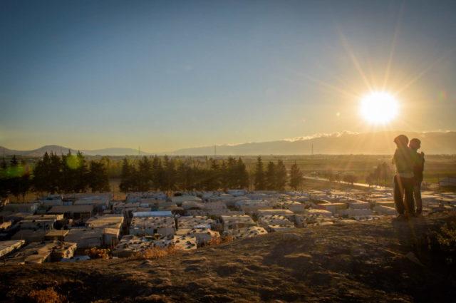 Sunset over tent settlement in Lebanon.