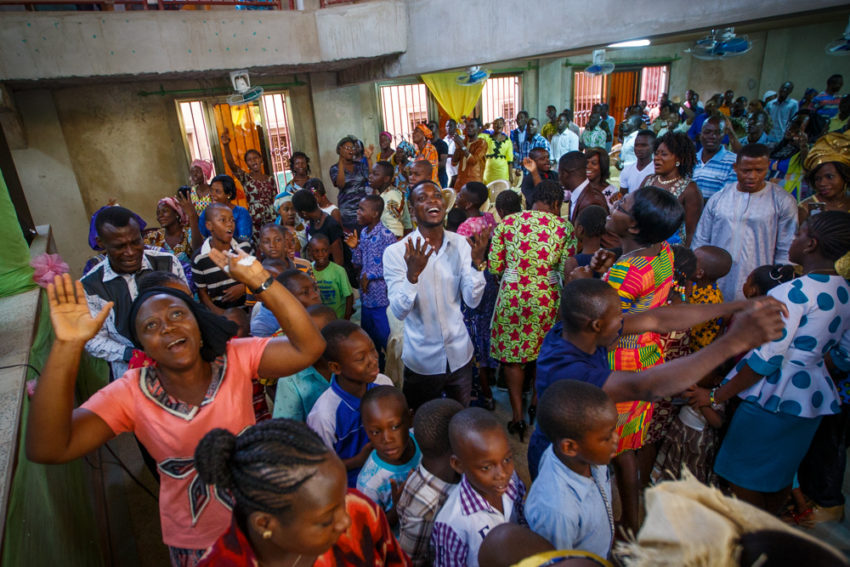 Christians worshipping God at a church in Mali.