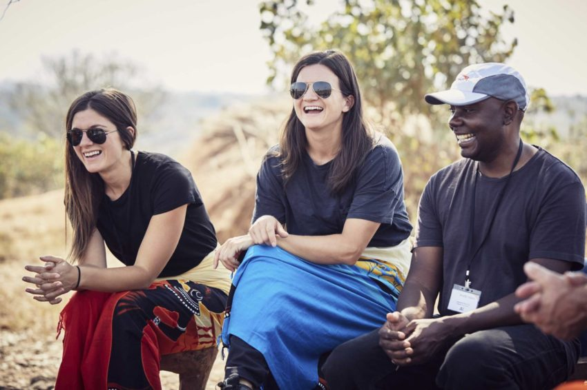 Olympic snowboarder Kelly Clark laughs in Zambia.