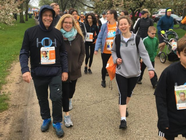 Employees from HOH Water Technology walk together in the 2018 Global 6K for Water.