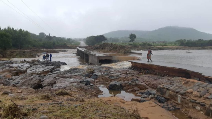 Raging flood waters destroyed bridges, roads and homes in Chimanimani, Zimbabwe, near the border with Mozambique. Cyclone Idai has brought widespread destruction to Mozambique, Malawi, and Zimbabwe in southeast Africa.
