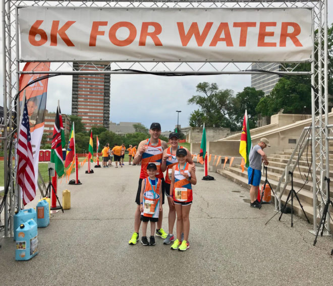 The Moffitt family ran in the Global 6K for Water the past two years and sponsors two children in Kenya.