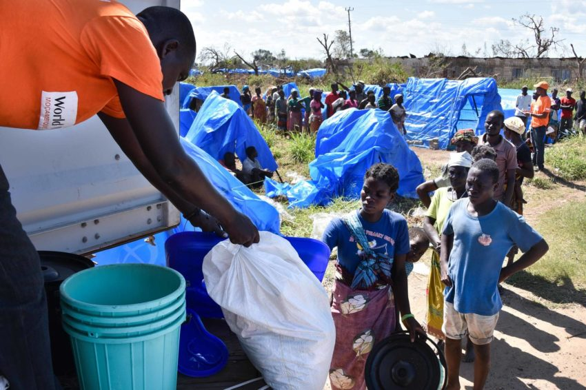 Cyclone Idai made landfall near Beira, Mozambique, on March 14, 2019. Many families lost their homes and possessions when the storm hit and the area flooded. World Vision distributed household kits to 500 families that contained household items they needed to construct a shelter and set up housekeeping. The kits included two tarpaulins, rope, three mosquito nets, a latrine cover, a 20-liter bucket and two five-liter buckets.
