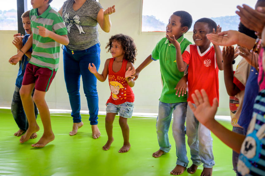 Children in Colombia are affected by the Venezuela migrant crisis. In a World Vision Child-Friendly Space, Sofia Lopez, 5, and her brothers, Wilker Pacheco, 8, and Josvier Lopez, 7, play and sing with children from their neighborhood in Cucuta, Colombia. They are Venezuelan migrants who came to Colombia with their mom and dad seven months before.